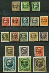 GERMANY-1919-20  -BAVARIA-BAYERN SC # 212-230 IMPERF,-MNH ( 1 )