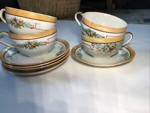CHIKARAMACHI china Set of 4 Handpainted Lustreware Cups & Saucers  floral