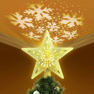 Christmas Star Tree Topper Lighted LED Rotating Glitter 3D Snowflake Projector