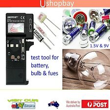 Battery Bulb and Fuse Tester Tests AAA, AA, C, D (1.5V) and 9V batteries