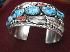 "Navajo Signed DINO 1.5"" Wide 3"" Cuff 3.67 oz KINGMAN TURQUOISE & CORAL Bracelet"