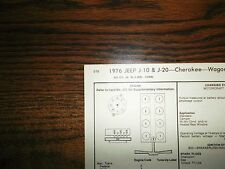1976 JEEP EIGHT Series Models 401 CI V8 4BBL Carb Tune Up Chart