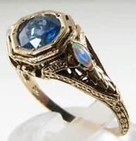 DIVINE 9K 9CT GOLD ART DECO INS BLUE SAPPHIRE & OPAL FILIGREE RING FREE RESIZE
