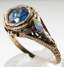 Divine 9K 9 KT ORO Art Deco INS BLU ZAFFIRO & Opale Filigrana Anello libero Ridimensiona