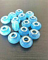 *UK* 3 X STUNNING SEA BLUE & WHITE SWIRL MURANO GLASS EUROPEAN CHAIN CHARM BEADS