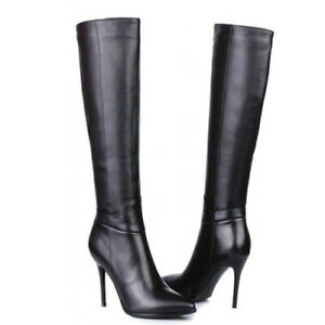 New Womens Knee High Zip Boots High Heel Ladies Pointed Toe Riding Shoes Club