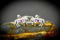 925 Sterling silver grey wolf Earrings with a Sugilite gemstone Paw