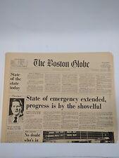 The Boston Globe Friday Morning Feb 10 1978 Blizzard State of Emergency Extended