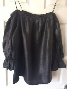 Lucky Brand Grey Sparkly Off Shoulder Top Size XL - New