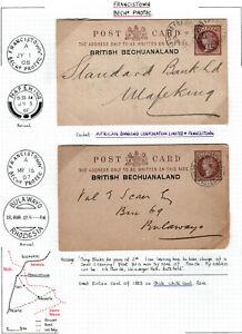 BRITISH BECHUANALAND 1900 's 2 POST CARDS TO RHODEIS & MAFEKING. A846
