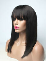 Brazilian Straight Bob Wig Real Hair Wig Lace Front Human Hair Wig with Bangs US
