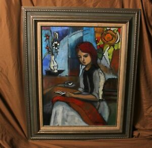 Beautiful Mid Century Oil Painting on Canvas Framed Abstract Expressionist MCM