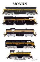 "Monon Black & Gold Locomotives 11""x17"" Poster Andy Fletcher signed"