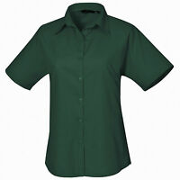 Premier Women's poplin Short sleeve Cotton blouse  Plain Work Shirt Sizes 6-26
