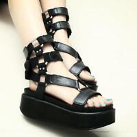 Ladies High Platform Gothic Creeper Buckle Roman Punk Summer Sandals Shoes size#