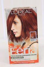 NEW L'Oréal Paris Feria POWER RED Hair Color Gel Dye 56 Auburn Brown