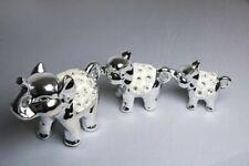 Set mit 3 Zeitgenössisch Silber Keramik Elefant Ornaments-For Geschenk, Wohndeko