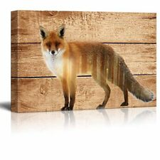 Canvas Wall Art Decor - Fox in the Wild on Vintage Wood Background- 16x24 inches