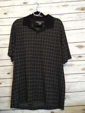 EUC Men's Greg Norman Play Dry Size Large 3-Button Golf Shirt Plaid Polo