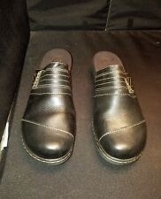 "LN Women's 12N Clarks ""bendables"" BLACK LEATHER 2"" WEDGE SLIP ON CLOGS MULES"