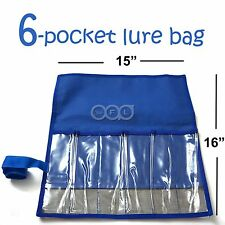 Qty 5 Blue Fishing 6-Pocket Lure Jig Bag Rollup Trolling Storage Jig bait bags