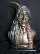 Signed Bronze Cold Painted Native American Indian Chief Lone Reproduction Statue