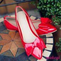 New Sweet Womens Bowknot Pumps Shoes Flat Heel Pointy Toe Plus Size Slip On 2017