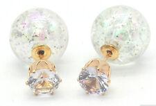 NEW DOUBLE PEARL CLEAR GLITTER SPARKLE BALL BEAD CRYSTAL STUD EARRINGS