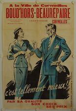 Affiche Vêtements BOUD'HORS BEAUREPAIRE Cormeilles - Lithographie Ann. '50