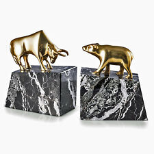 "BOOKENDS - ""WALL STREET""  BULL AND BEAR BOOKENDS - BRASS & MARBLE BOOKENDS"