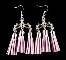 1 Bohemian Handmade Pair of Lilac Suede Tassel Dangle Fashion Earrings #1900