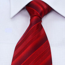 New Red Stripe Silk Classic Woven Man Tie Necktie In Stock Ready To Ship