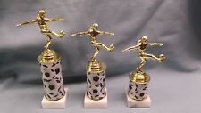 set of 3 SOCCER trophy female on theme risers