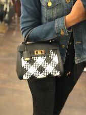 NWT Michael Kors KARSON Mini TH Woven Leather Satchel Bag In Optic White/Black