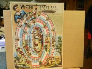 """1973 Reproduction of 1891 """"Wieler Sport-Spel"""" Dutch Cycling Board Game Poster"""