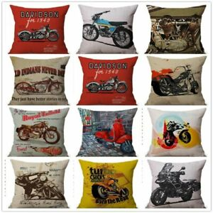 Square Vintage Classic Motorcycle Poster Sofa Cushion Cover Home Decor Retro