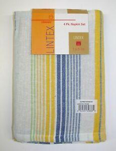 "(4) Lintex 100% Cotton Napkins ~ Givenchy Stripe ~ 18"" x 18"" Square NEW"