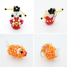 Chinese New Year culture Handmade beads keyring God Prosperity Golden Piggy