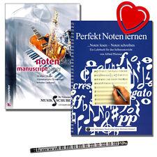 Perfekt Noten lernen Set : Lehrbuch, Notenblock, Musikbleistift, ❤ Notenklammer