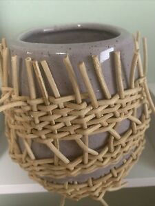 Anthropologie Braided Rattan Desk Collection Pencil Pen Holder Cup