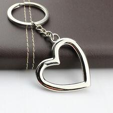 HJ Heart Keyring Alloy Pendant Keyfob Chrome Key Bag Chain Wedding Hot Gift New