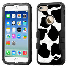 Hybrid Tough Phone Case (Blk/Black) for Apple iPhone 7 - Cow Skin Design