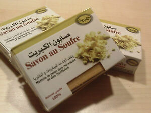 Schwefel Seife Naturrein aus Marokko, 3 St. a 80 Gr, Originalprodukt 5,60€/100gr