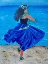 "HAWAII ARTIST  'ROYAL BLUE HULA"" Original Oil 18""x24"""