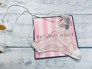NWT Victoria's Secret Lace Strappy Neck Band Thong Panty White Shine XS S