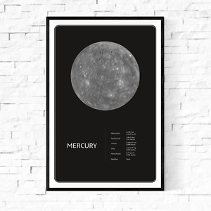 Planet Mercury From Space Facts Fine Art Premium Canvas Giclee Print