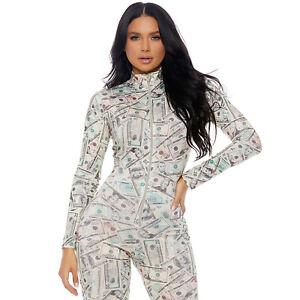Money Print Catsuit Long Sleeve Body Suit Zip Front Mock Neck Costume 113503