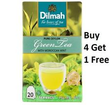 Dilmah Pure Ceylon Green Tea with Moroccan Mint 20 Tea Bags - Buy 4 Get 1 Free