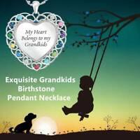 My Heart Belongs To My Grandkids Heart Pendant Chain Necklaces Chain Women Gift