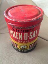 Vintage Dr Salsbury's Phen-O-Sal Tablets Tin Antique Medicine - Charles City, IA
